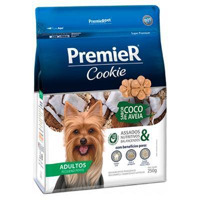 Biscoito Premier Pet Cookie para Cães Adultos Pequeno Porte Sabor Coco e Aveia  250g