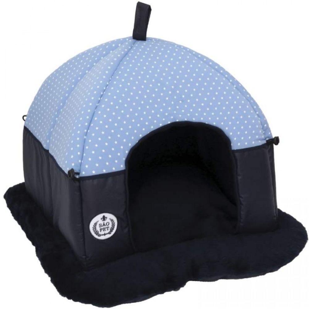 Cama Tenda para cachorro Super Luxo MR 52x50x40cm Cor Azul