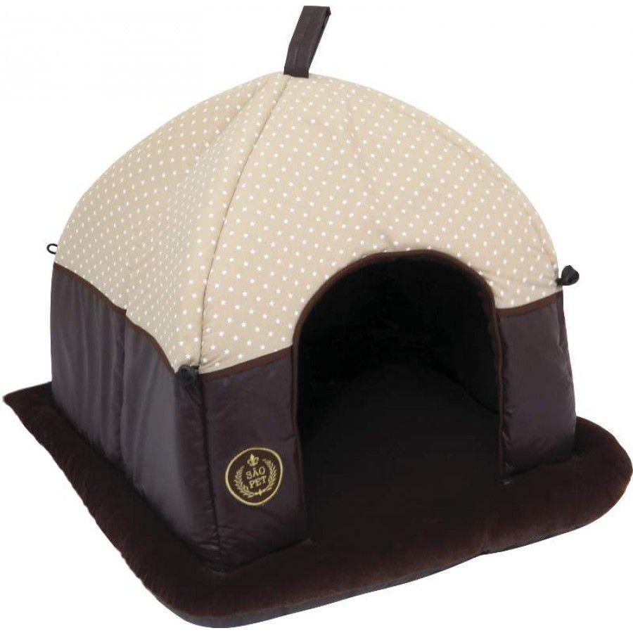 Cama Tenda para cachorro Super Luxo MR 52x50x40cm Cor Bege
