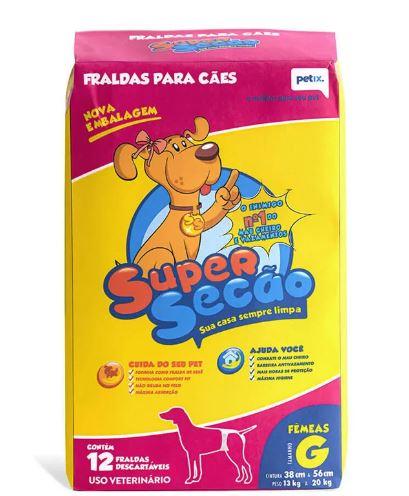 Fraldas Descartáveis Super Secão para Cães Fêmeas com 12 Unidades (grande)
