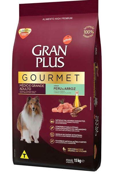 Ração Gran Plus Gourmet Ovelha e Arroz Para Cães Adultos Raças Médias e Grandes 15kg