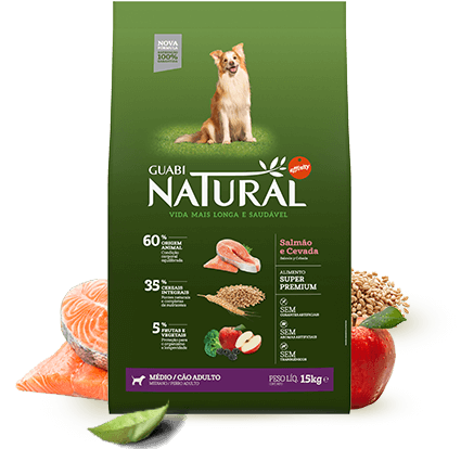 Guabi Natural Cão Adulto Porte Médio Salmão e Cevada 15kg