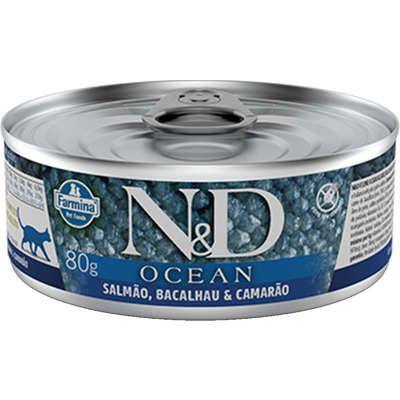 Lata Farmina N&D Ocean Salmão & Bacalhau para Cães Adultos 140g