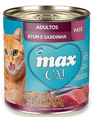 Max Cat Lata Adultos Patê Atum e Sardinha 280g