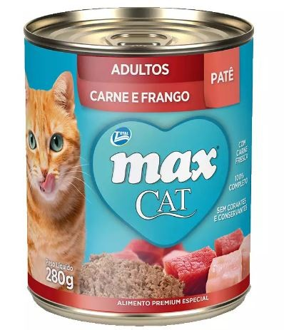Max Cat Lata Adultos Patê Carne e Frango 280g