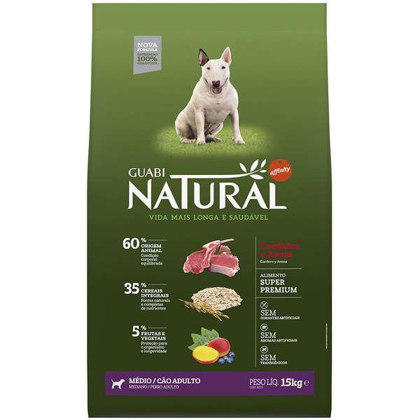 Ração Affinity Guabi Natural Cordeiro e Aveia para Cães Adultos Raças Média 15kg