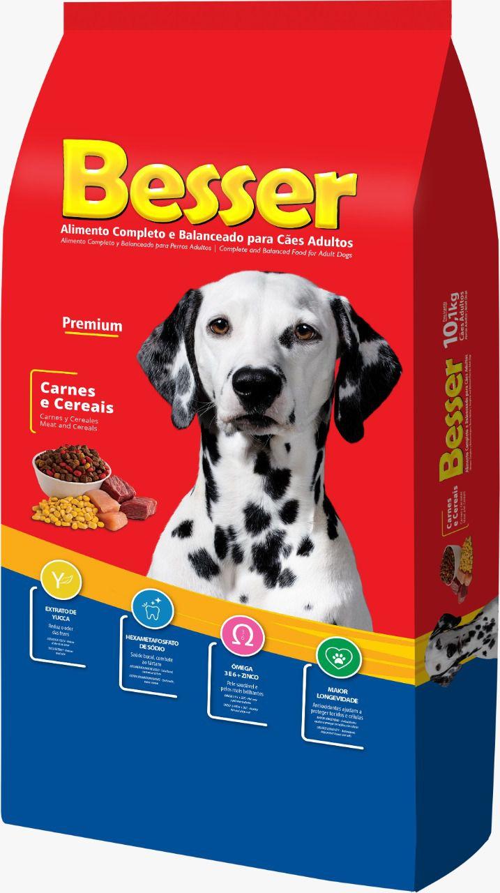 Ração Besser Natural Premium para Cães  Adultos Carne e Cereais 15k