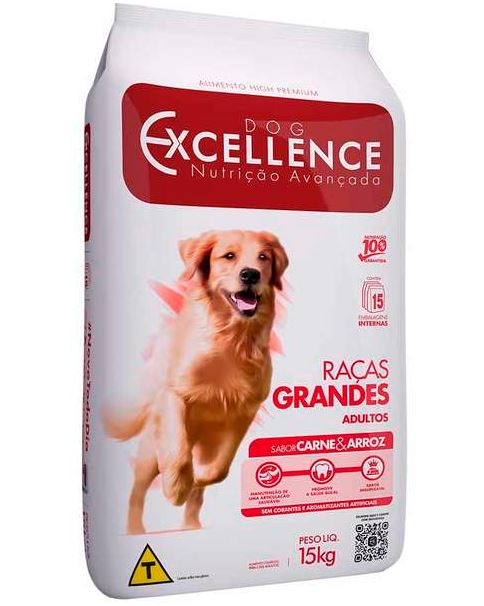 Ração Excellence Raças Grandes Carne e Arroz 15 k
