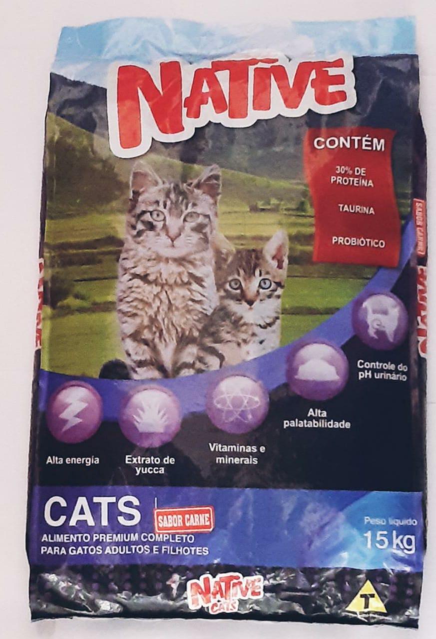 Ração Gatos Native Cats Carne 15k