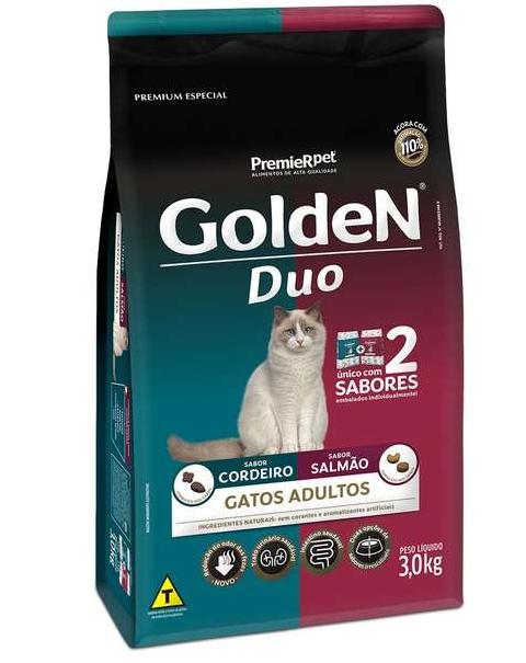 Ração Golden DUO Gatos Adultos - Salmão e Cordeiro 3K