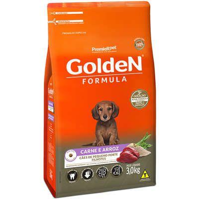 Ração Golden Formula Carne e Arroz para Cães Filhotes de Raças Pequenas 3k