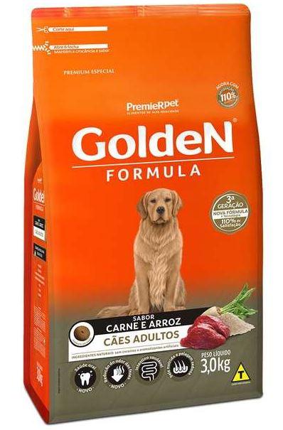 Ração Golden Fórmula para Cães Adultos Sabor Carne e Arroz 3k