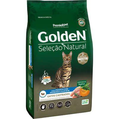 Ração Golden Premier Seleção Natural Frango, Abóbora e Alecrim para Gatos Castrados 10K
