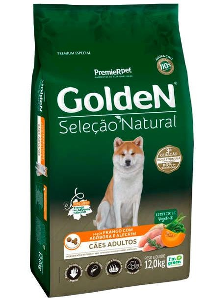 Ração Golden Seleção Natural Frango, Abóbora e Alecrim para Cães Adultos 12k