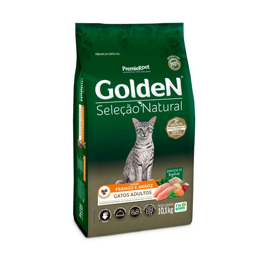 Ração Golden Seleção Natural para Gatos Adultos Sabor Frango 10k