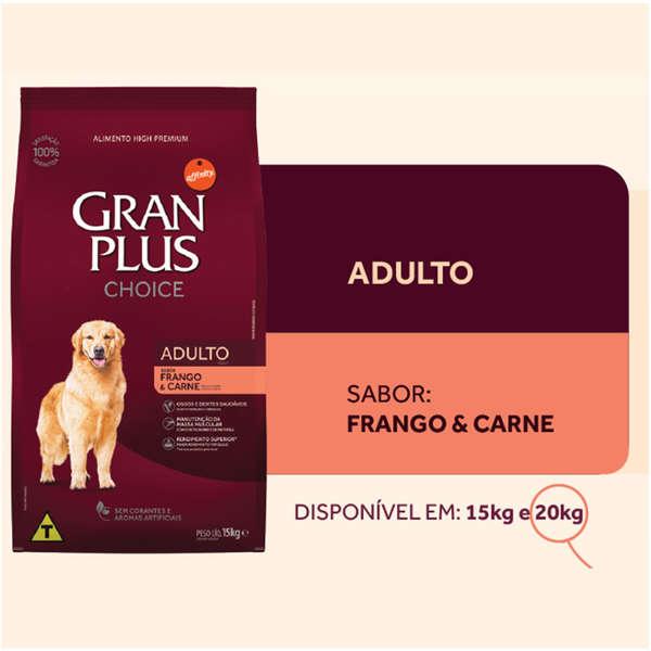 Ração Granplus Choice Adulto Sabor Frango e Carne  20kg