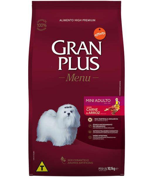 Ração GranPlus Menu Carne e Arroz para Cães Adultos Mini 10kg