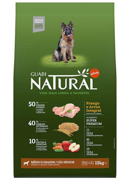 Ração Guabi Natural Cães Sênior Raças Médias e Grandes Frango e Arroz Integral 15k