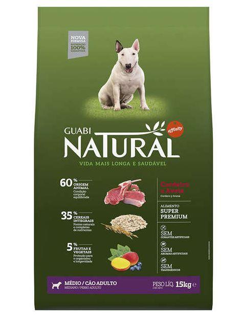 Ração Guabi Natural Cordeiro e Aveia para Cães Adultos Raças Média 15kg