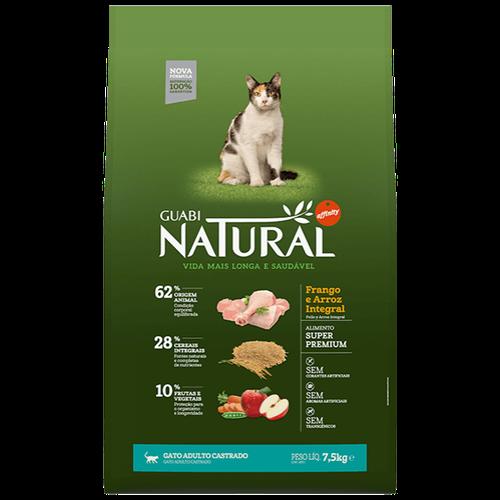 Ração Guabi Natural Gato Castrado Frango e Arroz Integral - 7,5kg