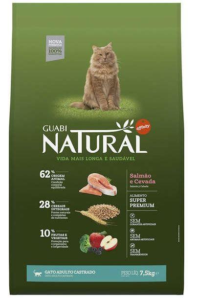 Ração Guabi Natural Gatos Adulto Castrados Salmão e Cevada 7.5K