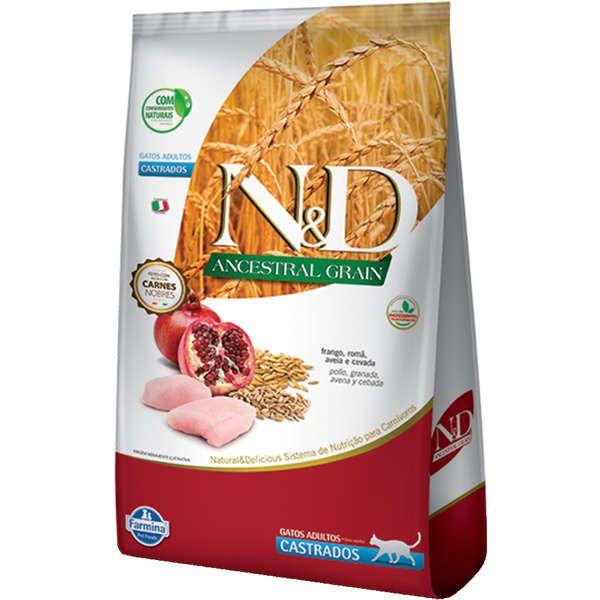 Ração N&D Ancestral Grain Frango Gatos Castrados 1.5k