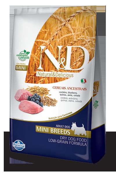 Ração N&D para Cães Adultos Raças Mini Ancestral Grain sabor Cordeiro e Blueberry 10.1