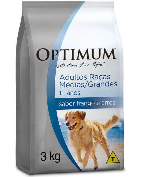 Ração Optimum Frango e Arroz para Cães Adultos Raças Médias e Grandes 1+ Anos 3kg