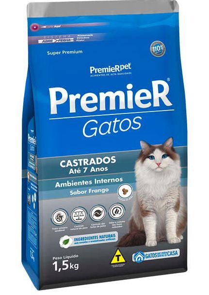Ração Premier Ambientes Internos Gatos Castrados Até 7 Anos - Frango - 1,5k