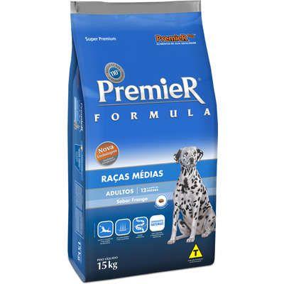 Ração Premier Fórmula para Cães Adultos de Raças Médias Sabor Frango e Arroz 15 k