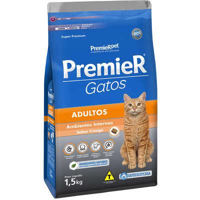 Ração Premier Gatos Ambientes Internos Adultos Frango- 1,5k