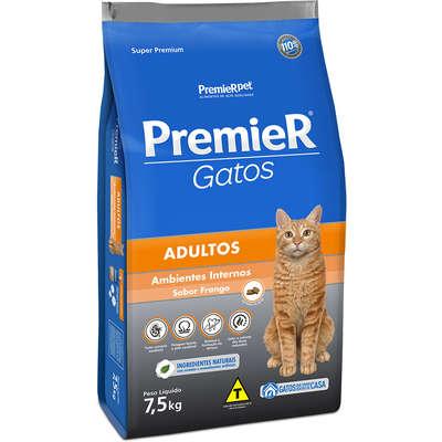 Ração Premier Gatos Ambientes Internos Adultos Frango - 7,5k