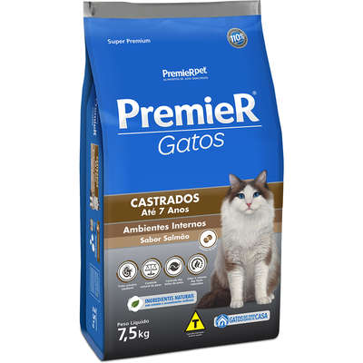 Ração Premier Gatos Castrados até 7 anos Ambientes Internos Salmão - 7.5k