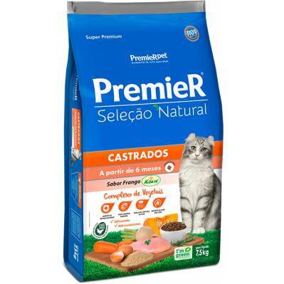Ração Premier Gatos Castrados Seleção Natural - Frango- 7.5k