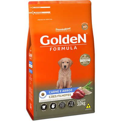 Ração Golden Formula Cães Filhotes Carne e Arroz 3k