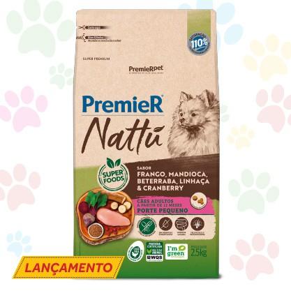 RAÇÃO PREMIER NATTU PARA CÃES ADULTOS DE PORTE PEQUENO SABOR MANDIOCA 2.5 kg