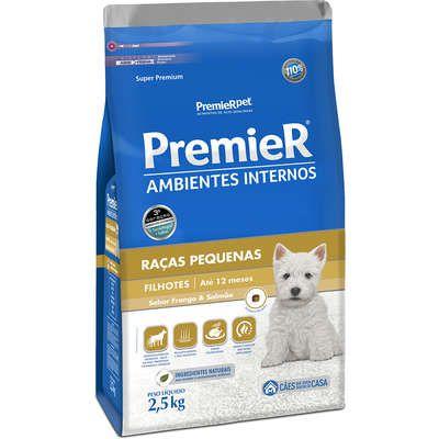 Ração Premier Pet Ambientes Internos Cães Filhotes Frango e Salmão 2.5k
