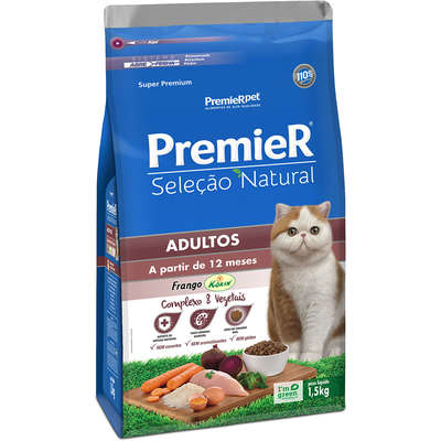 Ração Premier Seleção Natural para Gatos Adultos 1,5k