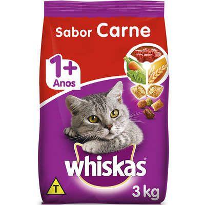Ração Whiskas Carne para Gatos Adultos 3kg