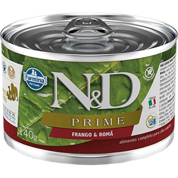 Ração Úmida Lata Farmina N&D Prime Grain Frango & Romã para Cães Adultos 140g