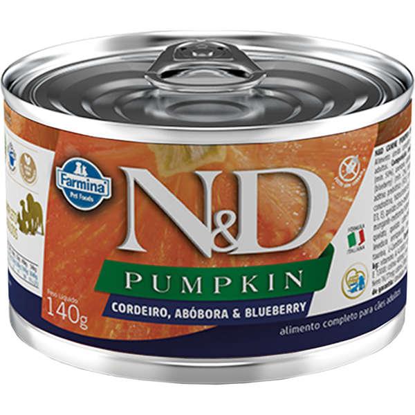 Ração Úmida Lata Farmina N&D Pumpkin Cordeiro, Abóbora & Blueberry para Cães Adultos 140g