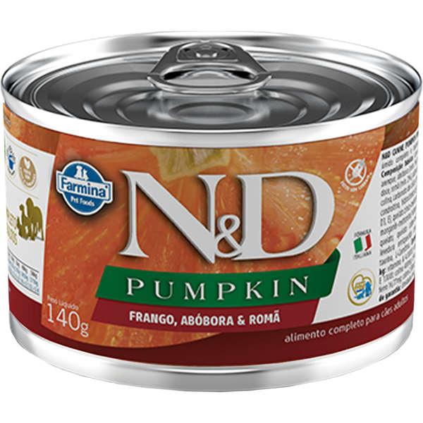 Ração Úmida Lata Farmina N&D Pumpkin Frango, Abóbora & Romã para Cães Adultos 140g