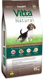 Ração Vitta Natural para Cães Adultos de Raças pequenas sabor Frango e Cereais 15k