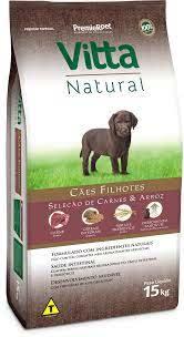 Ração Vitta Natural para Cães Filhotes  sabor Carne e Arroz 15k