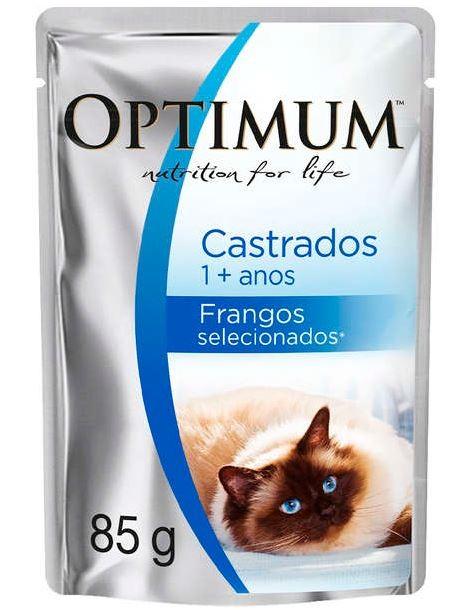 Sachê Optimum para Gatos Castrados Sabor Frango - 85g