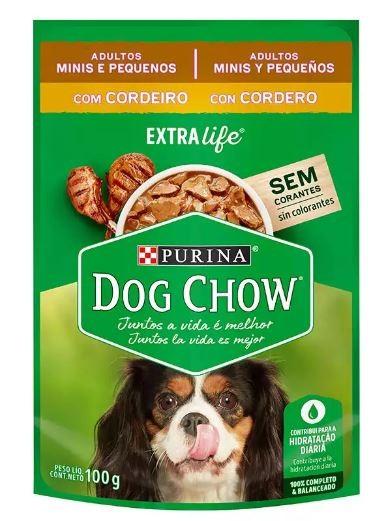 Sachê Purina Dog Chow Cordeiro para Cães Adultos Raças Pequenas 100g