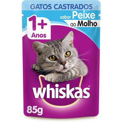 Sachê Whiskas Peixe ao Molho para Gatos Adultos Castrados 85g