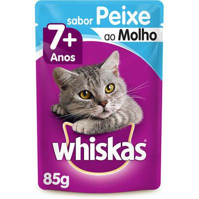 Sachê Whiskas Peixe ao Molho para Gatos Sênior 7 + Anos 85g