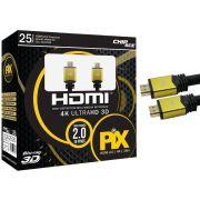 Cabo HDMI 2.0 - 4K, Ultra HD, 3D, 19 Pinos - 25 metros PIX