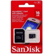 CARTAO MICRO SD 16GB SANDISK C/ ADAPT